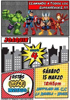 Tarjeta de Invitación para cumpleaños de niño de 4 años. Temática : Avengers! Invitación para facebook Superheroes, para enviar por correo, para imprimir o para ponerlo en recepción del salón. Avengers Birthday, Boy Birthday, Birthday Parties, Happy Birthday, Invitation Card Birthday, Invitation Cards, Hero Squad, Superhero Invitations, Wonder Woman Party