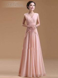 Elegant Ruched Deep V-neck Chiffon Floor-length Evening Dress