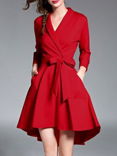 0b6422bf91ac Stylewe Surplice Neck Red Mini Dress High Low Daily Dress Long Sleeve Bow  Solid Dress Midi