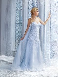 Elsa inspired wedding dress from Alfred Angelo...Love this so much!