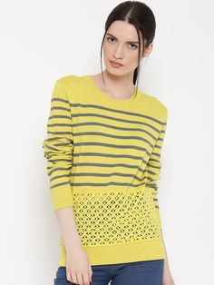 179f6272c829d Buy United Colors of Benetton Yellow Striped Sweater online