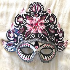 "Venetian style costume, theatrical and decorative papier mache costume lightweight, ethnic geisha costume mask, ""Pink Geisha Flower"" by EthnicDrops on Etsy https://www.etsy.com/listing/477030908/venetian-style-costume-theatrical-and"