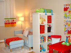 How much fun is this bright, #colorful #playroom?  #red #orange