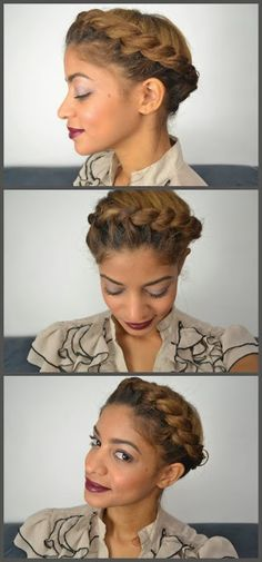 Love this color.   protective hairstyles for natural hair http://www.shorthaircutsforblackwomen.com/natural-hair-products/ Natural Hair Styles and Natural Hair Care: Natural Updos