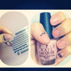 DiY ! Opi nail polish + lace nail stickers