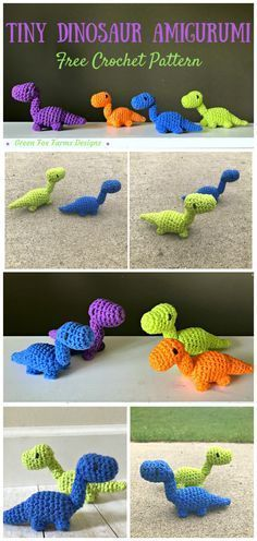 Free Crochet Pattern! | Adorable Tiny Dinosaur Amigurumi | Green Fox Farms Designs