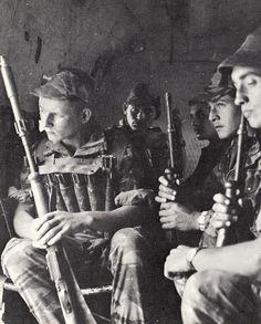 French commandos (navy) during airmobile raid, Algeria.