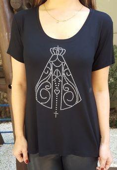 Camiseta Nossa Senhora Aparecida aplique preta - HARUMI 520bc2134f0
