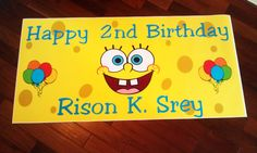 6ft Personalized SpongeBob Birthday Banner by www.bannergrams.com