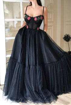 Details - Black Dress - Tulle fabric with dots - Red sparkling roses - A-line shape with waist definition - Evening,party dress Straps Prom Dresses, A Line Prom Dresses, Grad Dresses, Homecoming Dresses, Long Dresses, Elegant Dresses, Pretty Dresses, Tulle Dress, Ladies Dress Design