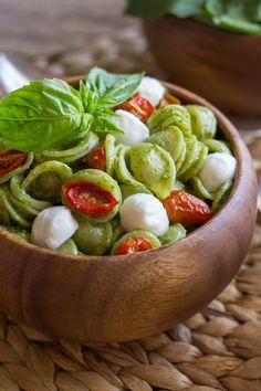 The classic Caprese pasta salad flavor combination of tomato, basil, and mozzarella.