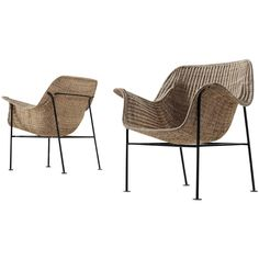 Pair of Scandinavian Wicker Armchairs | From a unique collection of antique and modern armchairs at https://www.1stdibs.com/furniture/seating/armchairs/