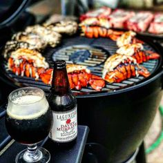 Dear. Lord. Perfectly grilled surf and smoky turf with two handfuls of ice cold craft scotch ale. Just incredible! #myfoodeatsyourfood  . Courtesy: @_elgordoo via @pokorny12  #surfandturf #seafood #pescatarian #steak #steakporn #meat #beef #paleo #glutenfree #crab #lobster #instagood #foodstagram #foodgasm #foodporn #puremichigan #cerveza #beer #bbq #barbecue #grill #grilling #food52 #feedfeed #foodnetwork #chef #carne #churrasco #firemakeseverythingbetter