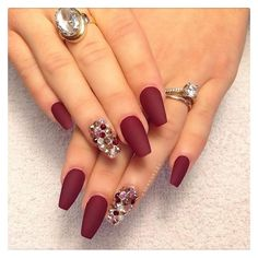 Matte Red Nails ❤ liked on Polyvore featuring beauty products, nail care, nail treatments, nails and unhas