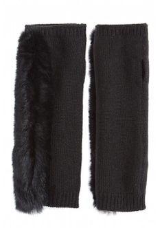 Cashmere Fur Trimmed Fingerless Gloves - Black