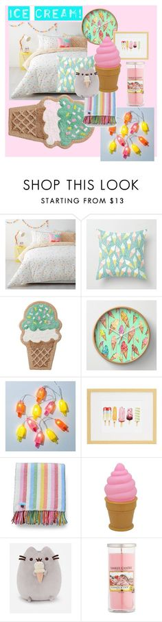 """""""Ice cream themed bedroom """" by mruss092212 ❤️ liked on Polyvore featuring interior, interiors, interior design, home, home decor, interior decorating, Yankee Candle, bedroom and icecreamtreats"""