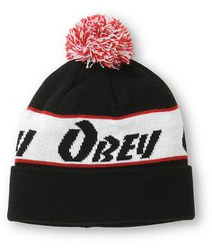 A wraparound white, red, and black Obey text logo provides iconic style with a red and white pom on top for added color.