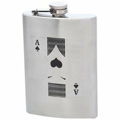"3 pack - 8OZ SS FLASK W/ACE OF SPADES (Drinkware - Flasks) by Original Equipment Manufacturer. $24.99. Maxam® stainless steel flasks provide sleek, sturdy containment and transportation for your spirit of choice. Features partially engraved Ace of Spades, brushed finish and screw-down cap. Measures 3-3/4"" x 5-1/4"". Limited lifetime warranty. White box.  Features brushed finish and screw-down cap. Measures 3-3/4"" x 5-1/4"". Limited lifetime warranty. White box."