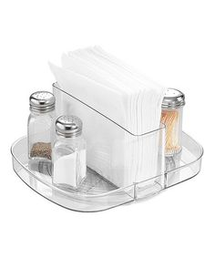 Linus Napkin Spinner #zulily  Neatly store napkins in this sleek, contemporary piece. Compact and sturdy, it's ideal for the tabletop and can even accommodate spices like salt, pepper and cayenne for an extra kick.  8'' W x 4.25'' H x 9'' D Plastic Imported #zulilyfinds