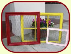 Vintage Salvaged Windows, Frames with Chicken Wire to display jewelry or small collections