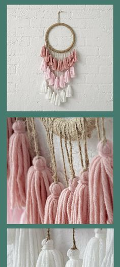 Each tassel dreamcatcher is completely crafted by hand, making no two exactly alike. That also means that every single one is a completely unique work of art. Handmade Home Decor Dreamcatcher Tassel Kids Room Wall Art Room Decorations, Diy Room Decor, Bedroom Decor, Wall Decor, Diy Décoration, Diy Crafts, How To Make Tassels, Creation Deco, Kids Room Wall Art