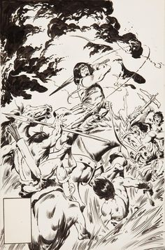 The Marvel Age of Comics, alexhchung: Conan the Barbarian by John Buscema Comic Book Pages, Comic Book Artists, Comic Artist, Comic Books Art, Red Sonja, Tracing Art, John Buscema, Sal Buscema, Black And White Artwork