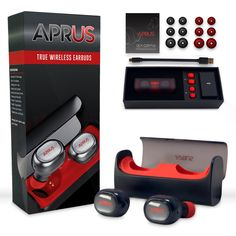 True Wireless Earbuds Bluetooth 4.2 with Mic - Noise Cancelling Sports Headphones for Running with Microphone & Quick Charging Case - Portable & Sweatproof with Stereo & Mono modes by APRUS. ♬ MAXIMUM PERFORMANCE, ZERO COMPROMISES - The cutting edge stereo True Wireless Bluetooth Earbuds with microphone & charging case by APRUS comes with stunning Bluetooth 4.2 technology for strong connections that won't drop in addition to beautiful bass, passive noise cancelling, built-in microphone &...