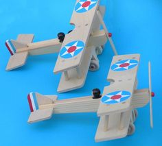 2-seat Wooden Toy Biplane Airplane