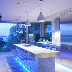 If you are looking for a luxury kitchen design then boy do we have some for you! Take a look at some amazing luxury kitchen designs, here! Modern Kitchen Lighting, Contemporary Kitchen Design, Kitchen Lighting Fixtures, Home Lighting, Lighting Ideas, Accent Lighting, Light Fixtures, Cabinet Lighting, Neon Lighting