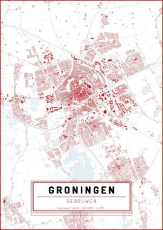 This map is a modern representation of the city of Groningen. It focuses on the built environment, specifically buildings. It combines the most recent data from top10NL and the BAG. Both governmental registrations.
