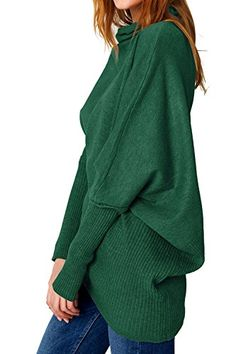 Cupshe Fashion Women's Turtle Neck Irregular Hem Casual Knitted Sweater (Green). Item Material: 100%Acrylic. Irregular hem, Turtle neck and Bats sleeve design. Must-have for fair lady women's girls top with casual and basic style. Only ONE Size: Bust/55.12; Sleeve/22.83; Length/31.49. FREE shipping by Fedex or USPS within 3-7 working days from US warehouse. Sold only by CUPSHE FASHION,other sellers sold fake with poor quality and different size from us.