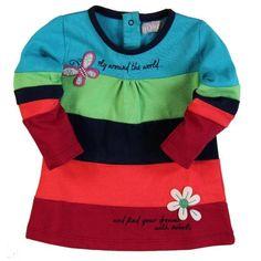 335107b4c Vestido bebé Bóboli estampado a rayas de alegres colores y con bonitos  motivos