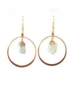 Hammered Hoops Light Blue- super delicate hoop earrings. Simple, yet incredibly bold. Colorado agate chunks in pastel hues $34