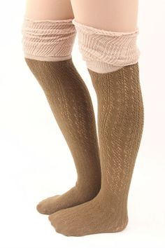 White And Beige Slouchy Two Toned Boot Socks