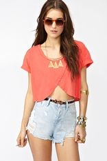 Wrapped Crop Tee - Coral