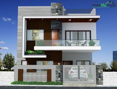 front elevation designs for duplex houses in india 2 Storey House Design, Duplex House Design, Duplex House Plans, Two Storey House, Small House Plans, Modern House Design, House Outer Design, House Front Design, Front Elevation Designs