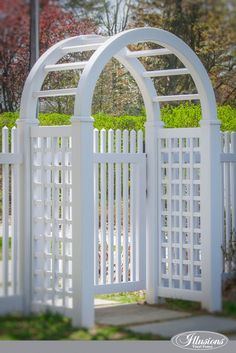 PVC Illusions Vinyl Fence ArborAmazing White PVC Illusions Vinyl Fence Arbor Eden Arbors Westhaven 50 in. - The Home Depot Threeman Products Oversized Lattice Cedar Wood Arbor with Gate Vinyl Gates, Vinyl Fence Panels, Vinyl Railing, White Vinyl Fence, White Picket Fence, White Fence, Diy Fence, Fence Gate, Fencing