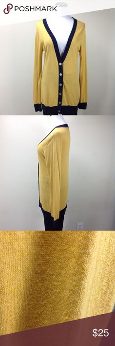 Outback Red Yellow & Blue Boyfriend Cardigan Yellow and blue long v-neck boyfriend cardigan with gold buttons.  In good condition with a small hole on the arm (see pics). Thanks for your interest!  Please checkout the rest of my closet. Outback Red Sweaters Cardigans