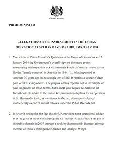 UK Cabinet Secretary report: Allegations of UK involvement in the Indian operation at Sri Harmandir Sahib, Amritsar 1984 - http://www.sikhsiyasat.net/2014/02/04/uk-cabinet-secretary-report-allegations-of-uk-involvement-in-the-indian-operation-at-sri-harmandir-sahib-amritsar-1984/