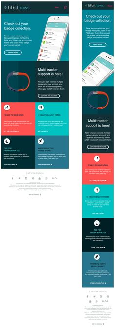 Nice responsive email from Fitbit - Email Template - Ideas of Email Template - Nice responsive email from Fitbit Html Email Design, Email Template Design, Responsive Email, Responsive Template, Email Marketing Design, Responsive Web Design, Email Templates, Newsletter Templates, Marketing Ideas