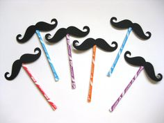 Mustaches on Pixie Stix  6 piece set  Party by TheManicMoose, $12.00. I need these!