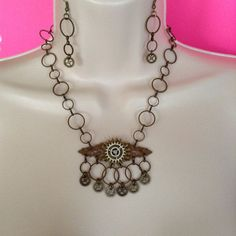 Steampunk Necklace and Earring set Victorian by WirednStrung