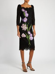 Tulip-appliqué cordonetto-lace dress | Dolce & Gabbana | MATCHESFASHION.COM