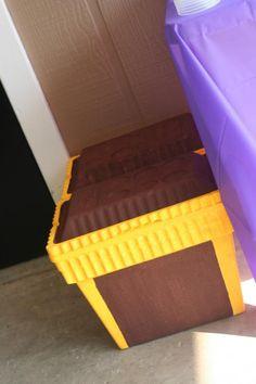 Under the sea / little mermaid birthday party ideas -- treasure chest painted styrofoam ice chest