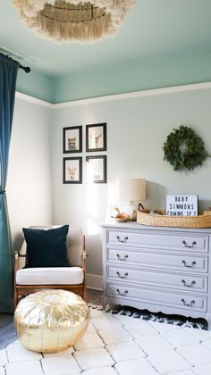 A Woodland Nursery Reveal A Woodland Nursery Reveal CLARE clare paint Best Blue Paint Colors DIY Nursery Design Clare paint Chill on wall and nbsp hellip Ceiling bedroom Bedroom Wall Colors, Bedroom Color Schemes, Bedroom Decor, Blue Ceiling Bedroom, Best Blue Paint Colors, Wall Paint Colors, Colored Ceiling, Ceiling Color, Ceiling Paint Ideas