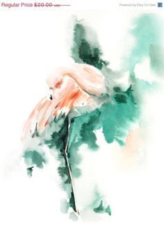 HOLIDAY SALE Pink Flamingo Art Print of Original Watercolor Painting 9x12, Watercolor Print Bird Wall Art, Salmon Pink and Emerald Green #design #print