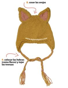 gorros con orejas de animales - knitted animal hat
