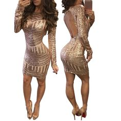 9490fea6eff01 Sexy Backless Women Long Sleeves Gold Sequined Bodycon Dress