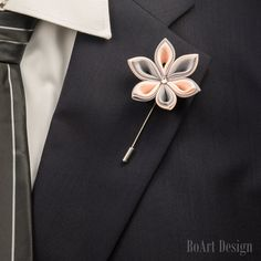 Black and White Polka Dot Chiffon Lapel Flower Pin by The Accessorized Man