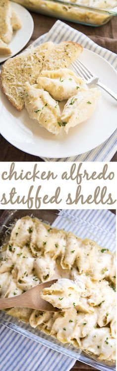 Chicken Alfredo Stuffed Shells - These delicious stuffed shells are filled with a creamy ricotta cheese, and shredded chicken mixture. Topped with Alfredo sauce and mozzarella cheese for a great twist on traditional stuffed shells!